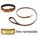 buy discount  K-9 Komfort Premium Deluxe 3/4 in. x 4 1/2 ft. Leash and 1 in. Standard Collar -- Tan Skirting with Dark Brown Buffalo Liner