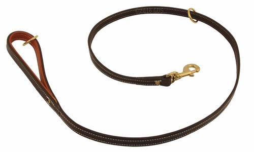 K-9 Komfort Premium Deluxe 3/4 in. x 4 1/2 ft. Leash -- Brown Latigo with Rust Cowhide Lined Handle