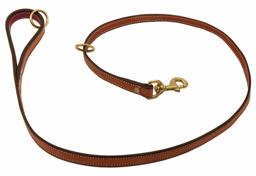 K-9 Komfort Premium Deluxe 3/4 in. x 4 1/2 ft. Leash -- Tan Skirting with Burgundy Latigo Lined Handle