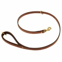 buy discount  K-9 Komfort Premium Deluxe 3/4 in. x 4 1/2 ft. Leash -- Tan Skirting with Dark Brown Buffalo Lined Handle