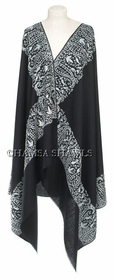 Ariwork Embroidered Dress Shawl - Black Shawl with Pale Gray, Platinum Gray