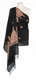 Black Shawl with Soft Tan and Pale Beige Embroidery *SOLD