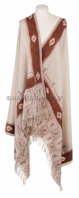 Designer Shawl - Pale Wheat Beige with Richly Hued Jamawar Borders, Hand Embroidery