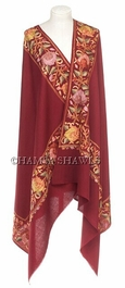Embroidered Dress Shawl - Deep Ruby Red with Himalayan Blossom Borders