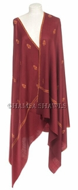 Embroidered Shawl in Kashmiri Bootidar Style - Deep Maroon