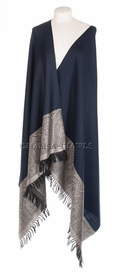 Fine Wool and Silk Designer Shawl - Navy Blue, Jet Black, Silver Gray