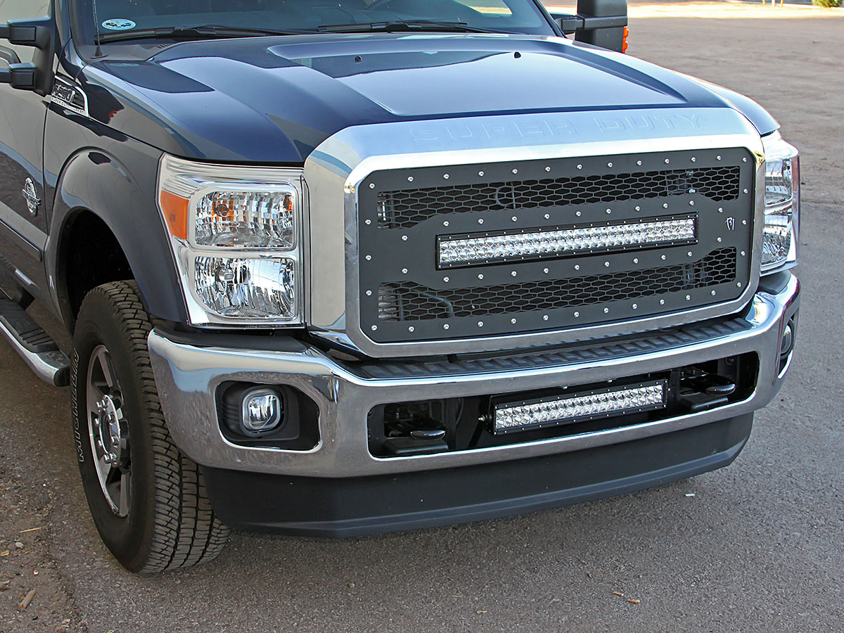 2011 2014 ford f250 f350 superduty 30 e series led light bar ready replacement grille kit by rigid industries - 2014 Ford F Series Super Duty