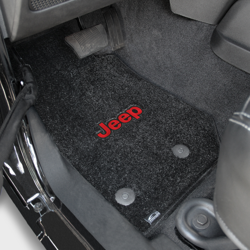 Floor mats jeep wrangler unlimited - 2014 2015 Jeep Wrangler Unlimited Red Jeep Logo Ultimats Front Seat Floor Mats Black By Lloyd Mats