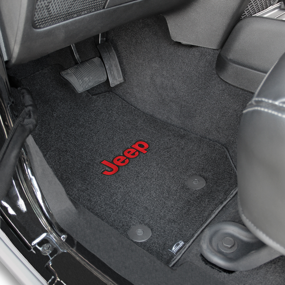 Floor mats jeep wrangler unlimited - 2014 2015 Jeep Wrangler Unlimited Red Jeep Logo Velourtex Front Seat Floor Mats Black By Lloyd Mats
