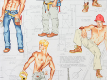 Alexander Henry Construction Worker Hunk Cotton Fabric White