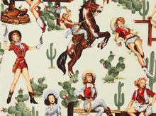 Alexander Henry Country Girl Pin-Up Girl Cotton Fabric Cream