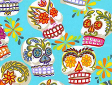 Alexander Henry Fabric Cotton Large Calaveras Blue