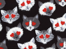 Alexander Henry Lovestruck Kitties Cotton Black