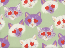 Alexander Henry Lovestruck Kitties Cotton Mint