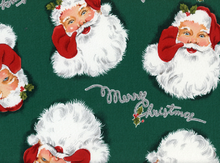 Alexander Henry Merry Christmas Santa Cotton Green