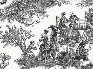 Alexander Henry Midnight Pastoral Toile Fabric Black and White