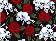 Alexander Henry Skulls Laminated Cotton Black