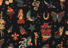 Alexander Henry Tattoo Fabric Black