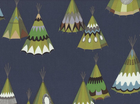 Alexander Henry We See Teepees Cotton Midnight