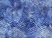 Bali Chevron Batik Cotton London Blue