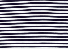 Basic Stripe Bamboo Knit Fabric Navy and White
