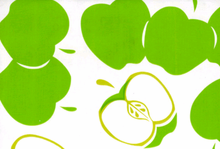 """Big Apple Oilcloth Fabric Lime and Olive Green on White 47"""""""