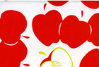Big Apple Oilcloth Fabric Red & Lime on White
