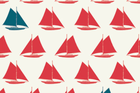 Birch Set Sail Organic Cotton Fabric Sailboats Apple