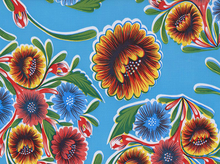 Bloom Floral Oilcloth Blue