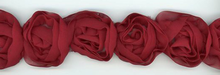 Burgundy Rosette Trim Hand-Made in France