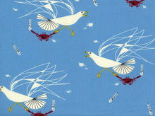 Charley Harper Maritime Seagull and Crab Organic Cotton Blue