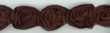 Chocolate Brown Rosette Trim Hand-Made in France