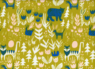 Cloud 9 Lore Lions, Tigers and Bears Organic Cotton Fabric Gold
