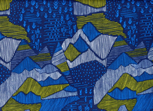 Cloud 9 Lore Olympus Mountains Organic Quilting Cotton Navy