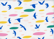 Cloud 9 Lore Up Above the Clouds Birds Organic Cotton Fabric White