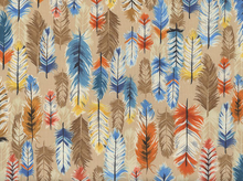 Colorful Feathers Cotton Tan