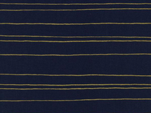 Cotton and Steel Melody Miller Fruit Dots Gold Stripe Metallic Navy