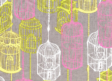 Cushion Dust Birdcage Fabric Grey