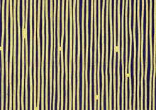 Dear Stella Line Work Cotton Fabric Navy and Gold