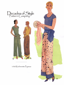 Decades of Style 1930 Kitchenette Pajamas Size A, B or C #3001