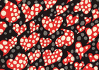 Disco Dot Heart Cotton Fabric Black