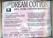 "Dream Cotton Natural Select Batting Queen Size 108"" x  93"""