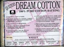 "Dream Cotton Natural Select Batting Twin Size 93"" x 72"""