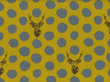 Echino Buck And Dot Cotton Linen Mustard