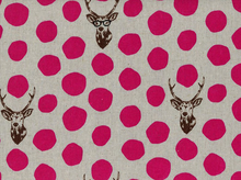 Echino Deer Laminated Cotton Linen Fuchsia and Grey