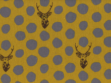 Echino Deer Laminated Cotton Linen Mustard and Grey