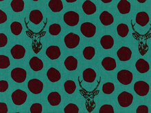 Echino Deer Laminated Cotton Teal and Plum