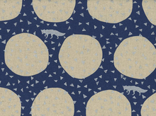 Echino Metallic Fox Circle Cotton Linen Navy