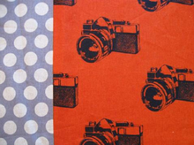 Echino Ni-Co Cameras Cotton Linen Orange
