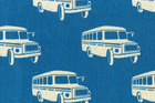 Echino Nico Bus Cotton Linen Blue